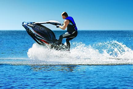 Many people like to do tricks on jet skiis like the one seen in this picture; however, these tricks often lead to injuries and boating accidents. Contact a Lake Charles boating accident lawyer or Louisiana jet ski lawyer today.